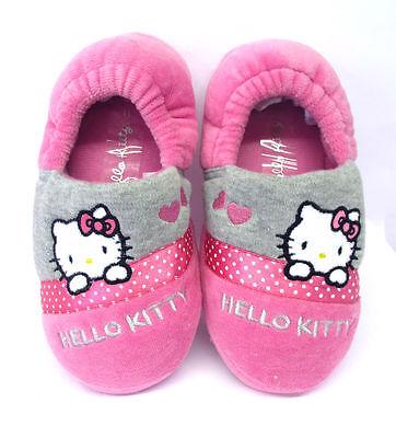 Chicas Persa Zapatillas Hello Kitty Rosa Gris Girly interior Zapatos espalda con elástico
