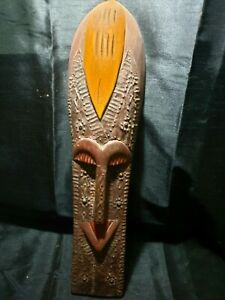 Mask-African-Carved-Wood-Tribal-Wall-Hand-Vintage-BIG-Art-Wooden-Face-Decor-1094