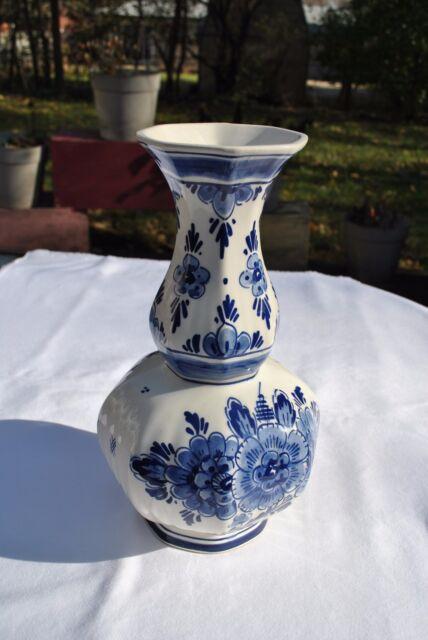 Octagonal Bulbous Floral Delft Blue Tulip Vase Vintage 60s Ebay