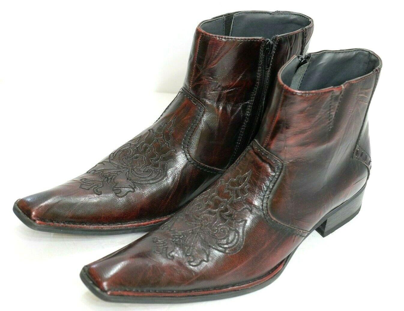 EUC Giorgio Brutini Men's Size 8.5M Handsome Reddish Brown Tooled Leather Boots