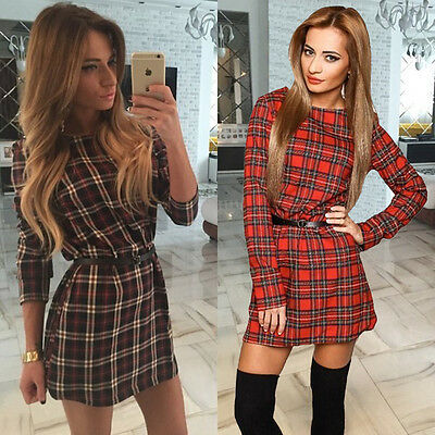 New Women Sexy Check Casual Party Evening Cocktail Short Mini Long sleeve Dress