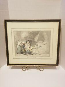 Vtg ENGLISH Artist THOMAS ROWLANDSON 4 O'Clock in Town 1788 ETCHING FRAMED Print