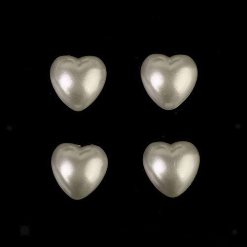 50pcs Ivory Heart Pearl Self Adhesive Stick On Scrapbook Craft Decor 9mm