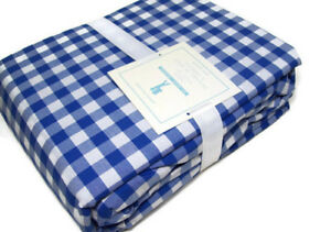 Pottery-Barn-Kids-Multi-Colors-Blue-Check-Organic-Cotton-Queen-Sheet-Set-New