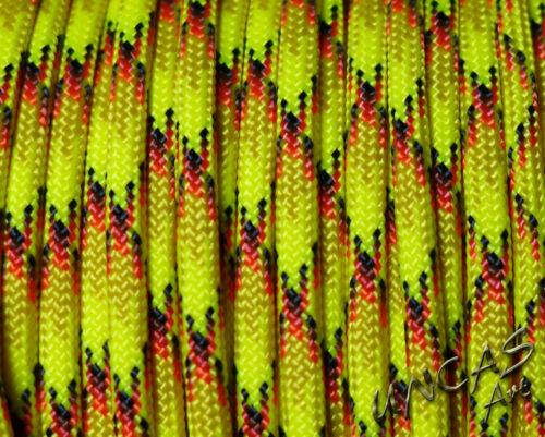 20m Premium Paracord 550 Typ III 4mm Schnur Band Seil Nylon grün gelb orange rot