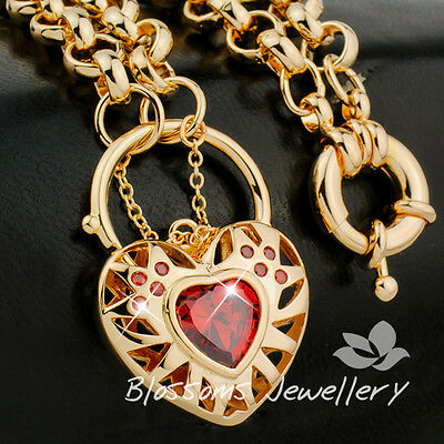 "Solid 18K GOLD GF Lab Ruby HEART Padlock Pendant CHAIN NECKLACE 24"" 50.9gram S25"