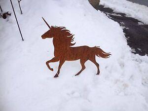 Edelrost einhorn pferd unicorn tier skulptur rost gartendeko kunst dekoration - Einhorn dekoration ...