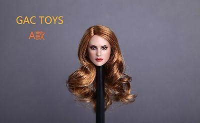 "GACTOYS Curly Planted Hair Female Head Carving Scarlett Johansson F 12/"" Figures"