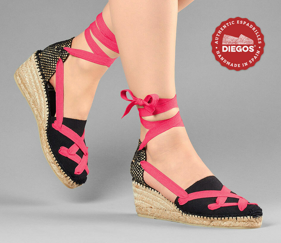 Choose the color of the laces   Black High wedge Espadrilles shoes Made in Spain