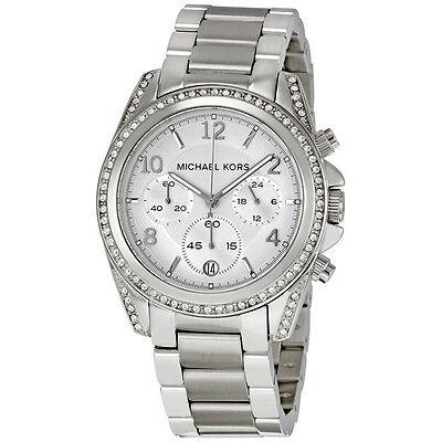 Michael Kors Ladies Chronograph White Crystal Stainless Steel Watch MK5165