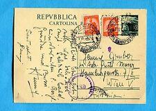 £.15 (C141) + DEM.£.10 arancio x 2 ann.BOLZANO, 10.11.50 per VIENNA  (500376)