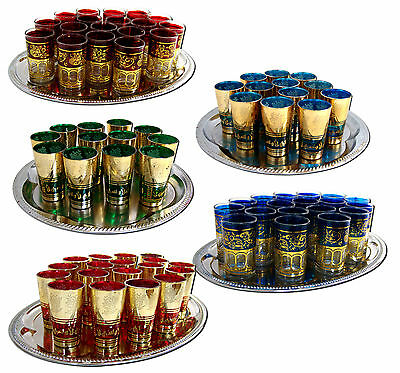 Teeglas Glas Gläser Orientalisch Orient Islam Handarbeit Teegläser Rot Blau Gold