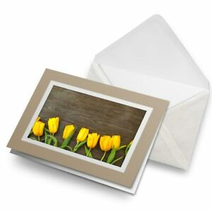 Greetings-Card-Biege-Yellow-Tulips-Flower-Pretty-2231