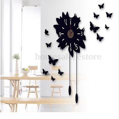 New Removable Modern Black DIY Butterfly Flower Sticker Home Decor Wall Clock