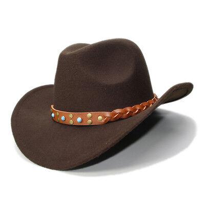Kid Children Wool Felt Leather Band Fedora Cowboy Hat Western Bull Jazz Sun Hat