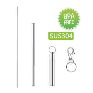 Metal Folding Straw with of Kiemeu Short Telescopic Straw with Case and Keyring