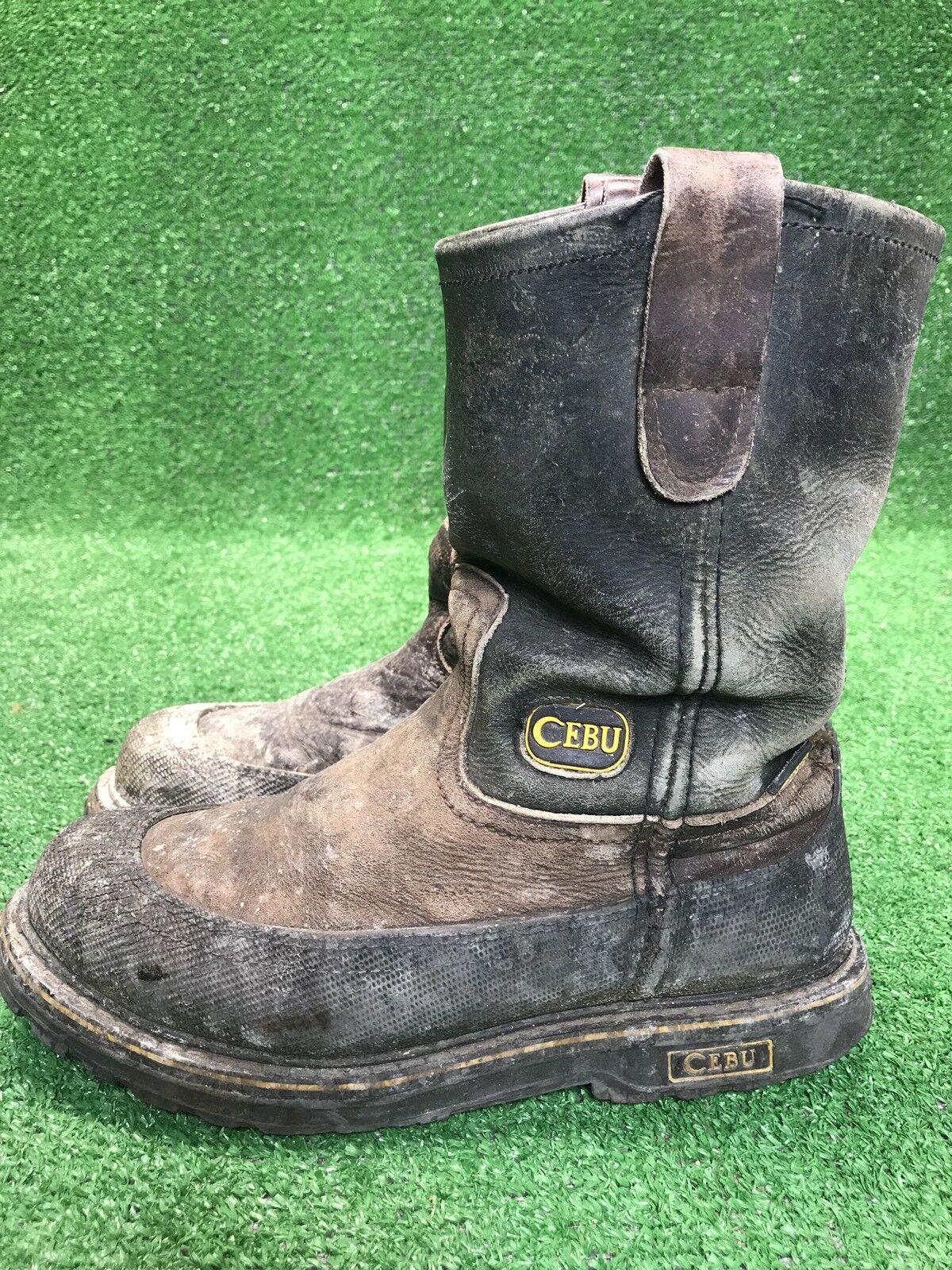 Cebu Mens Distressed Leather Steel Toe Brown Work Boots Men's 8