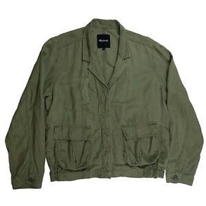 Madewell-Womens-League-Cargo-Olive-Green-Linen-Lightweight-Jacket-Size-Large-L