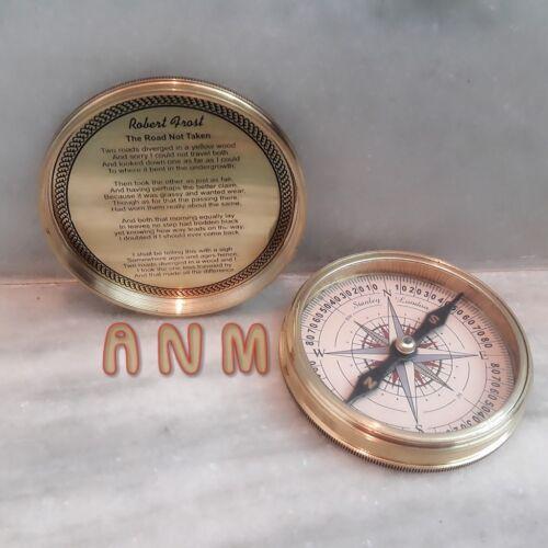 Antique Nautical Brass Calendar Poem Compass 3 inch Vintage