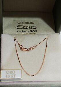 Collana veneziana in oro rosa 750 18 kt con doppia regolazione 40 e 45 cm NUOVA