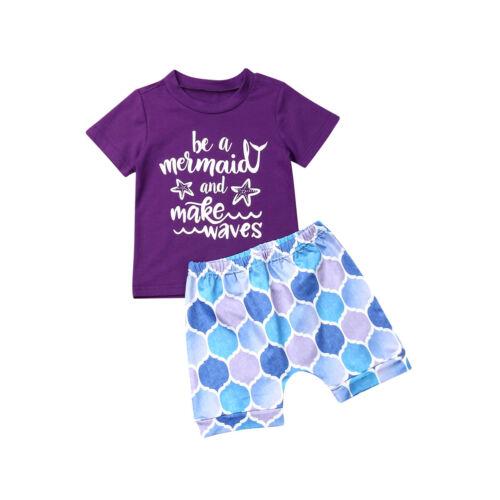Stylish Kids Baby Girl Summer Short Sleeve T-shirt Tops+Short Pants 2Pcs Outfits