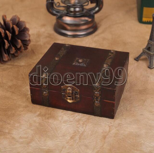 Wooden Vintage Metal Lock Jewelry Necklace Bracelet Box Storage Oraganizer Case