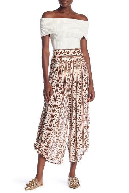 Free People Womens Elena Wide Leg OB824007 Pants Raw Linen Combo Brown Size XS