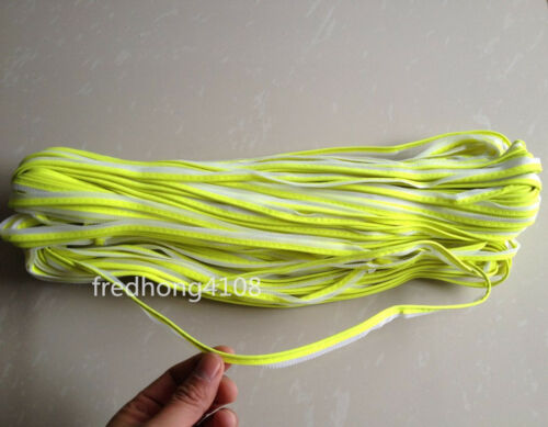 Fluorescent Yellow Reflective Piping Fabric Strip Edging Braid Trim  for Clothes