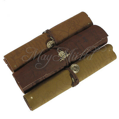 Vintage Pirate Roll Pen Pencil Case Pocket Map Pack Make Up Pouch Bag Party O