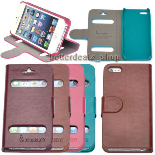 Magnetic View PU Leather Flip Wallet Case Stand Cover Pouch Skin For iphone 5 5S