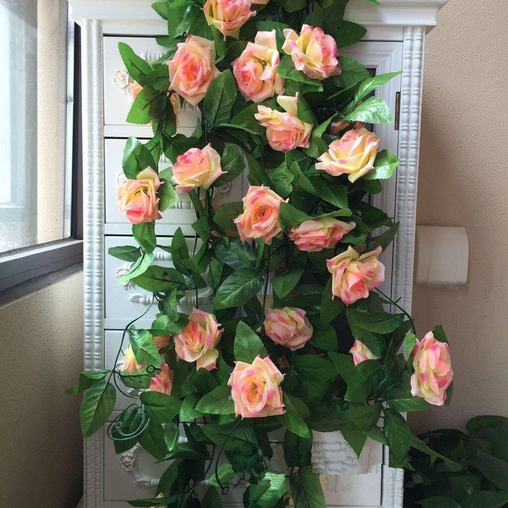 2x 8Ft Artificial Rose Garland Silk Flower Vine Ivy Wedding Party Garden Decor 12