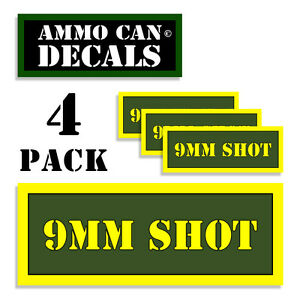 """9mm Ammo Label Decals for Ammunition Case 3/"""" x 1/"""" Can stickers 4 PACK YWbkRD"""