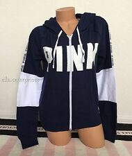 Victoria's Secret Pink Ensign Blue White Colorblock Perfect Full Zip Up Hoodie M