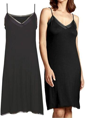 EX Women M/&5 BLACK and Grey Colours Satin Mesh Trim Full Slip Size 8 to 22