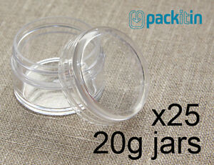 25-x-20g-CLEAR-LIP-BALM-JARS-containers-pots-brand-new-plastic-screw-top-lid