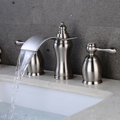 Superb Details About Bathroom Faucet Brushed Nickel Widespread Vessel Three Holes Two Handles Tap Home Interior And Landscaping Transignezvosmurscom