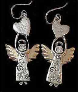 Fashion-Jewelry-Earrings-Dangle-Chandelier-Silver-Clear-Crystals-Angels-Heart