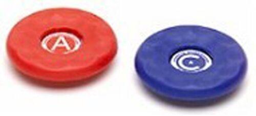 2 AMERICAN MEDIUM REPLACEMENT TABLE SHUFFLEBOARD PUCK CAP TOP 2 1/8 - RED/BLUE