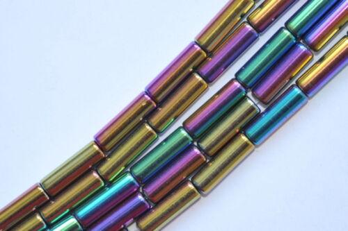 T7-05 13x4 mm hématite laminage strang Arc-en-ciel