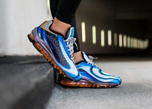 sports shoes f9313 7e592 Image is loading Womens-Nike-Air-Max-Deluxe-Blue-Black-Orange-