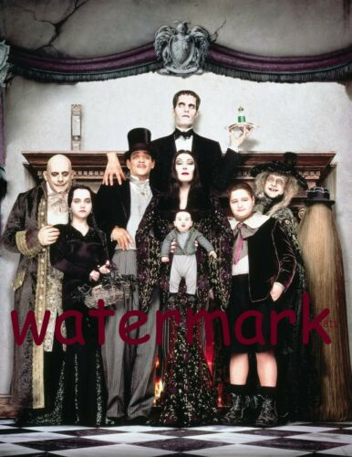 THE ADDAMS FAMILY SHOW FULL GROUP CAST POSE FRONT OF FIRE PLACE PUBLICITY PHOTO