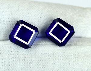 Natural-Blue-Tanzanite-11-13-Ct-Octagon-Cut-Gemstone-Matching-Pair-Certified