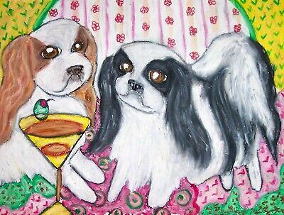 Antique JAPANESE CHIN Dog Spaniel Painting Luxury Home Pet Portrait ART Print