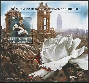 CENTRAL AFRICA 2015 70th ANN OF THE BOMBING OF DRESDEN SOUVENIR SHEET MINT NH