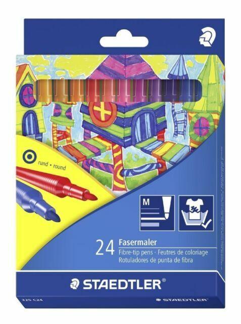 STAEDTLER 24 Piece Fibre Tip Pen Set Adult Colouring Fine Nib Noris Club Kids