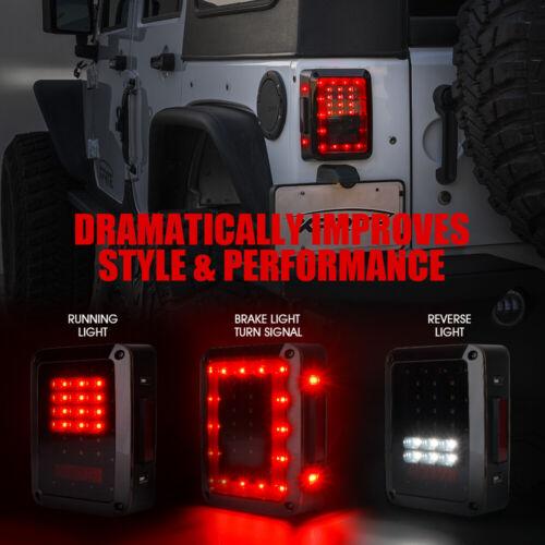 Xprite LED Tail Lights Brake w// Smoke Lens for Jeep Wrangler JK JKU 2007-2018