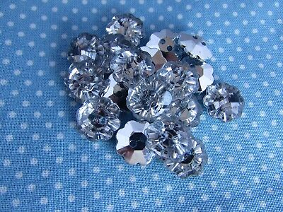 5 10 or 20 13mm Silver Backed Crystal Rhinestone Heart Shaped Buttons Packs 2