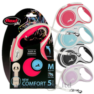 Flexi-New-Comfort-Dog-Lead-5m-Large-Med-Tape-Retractable-Dog-Lead-New-2020-Model