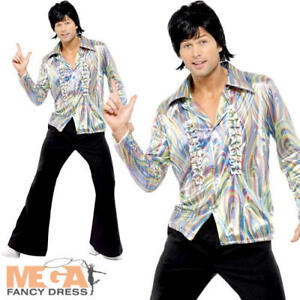 Shirt Fancy Dress Mens 70s Costume Adult Seventies Outfit 1970s Disco Flares