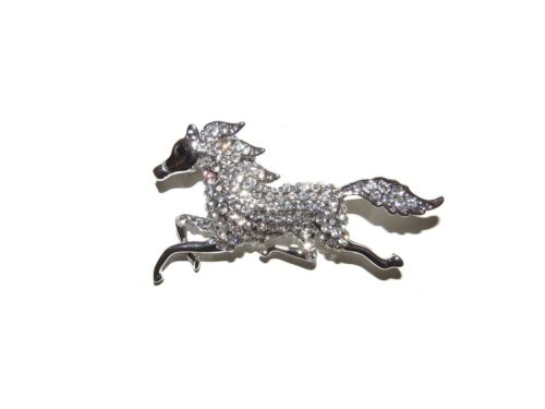 STUNNING SILVER DANCER BALLET SHOES CRYSTAL HORSE BROOCH DIAMANTE BROOCHES